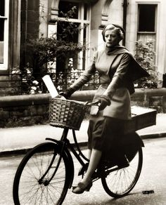Maggie Smith on a bicycle! She's lovely.