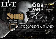 Γιάννενα: Το 2016 στα Γιάννενα μπαίνει με μια μεγάλη γιορτή του Ελληνικού Ροκ!INΣOMNIA BAND & NORMA Live @ ΙΩΑΝΝΙΝΑ LAKE' S TAILOR 08.01.2016