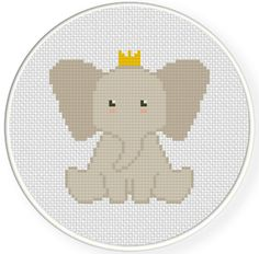Elephant Prince PDF Cross Stitch Pattern Needlecraft - Instant Download - Modern Chart
