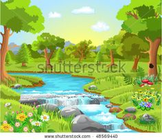 Royalty Free Illustrations and Royalty Free Clip Art Images - Page 7 Landscape Drawings, Landscape Illustration, Art Drawings For Kids, Drawing For Kids, Kindergarten Drawing, Drawing Scenery, Animal Art Projects, Spring Forest, School Murals