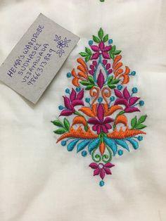 Sudhasri hemaswardrobe Kurti Embroidery Design, Hand Embroidery Dress, Embroidery Works, Embroidery Motifs, Machine Embroidery Applique, Embroidery Fashion, Silk Ribbon Embroidery, Hand Work Design, Hijab Collection