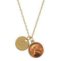 American Coin Treasures Lucky Lincoln Penny with Personalized Disc Charm Goldtone Coin Pendant Necklace