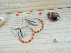 Boucles d'oreilles créoles coquillage perles de rocaille : Boucles d'oreille par couleur-grenadine33
