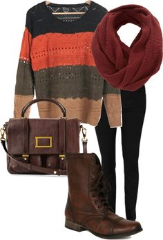 """""""Strata""""--funky chunky sweater, black leggings, Steve Madden Troopa boots in brown, and a chunky scarf; I've been looking for a pair of boots like these for months now!"""