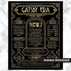 The Great Gatsby decoration, Art Deco poster, Great Gatsby prop : Great decoration for a Gatsby Party -this printable poster describes the Roaring Twenties and is set in detailed Art Deco design. The Great Gatsby, Great Gatsby Wedding, 1920s Wedding, Party Wedding, Wedding Ideas, Great Gatsby Themed Party, Wedding Vintage, Wedding Themes, Wedding Pictures
