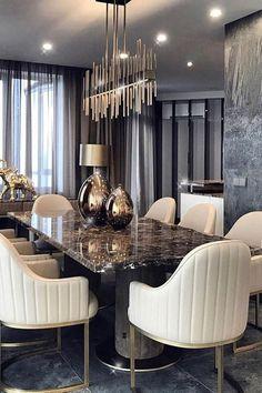Dining Room Table Decor, Elegant Dining Room, Luxury Dining Room, Dining Room Design, Room Decor, Esstisch Design, Room Interior, Interior Design, Design Trends