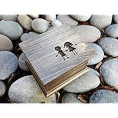 Custom engraved music box with a boy and a girl engraved on the top, great birthday gift for your best friend or sibling, sister or brother