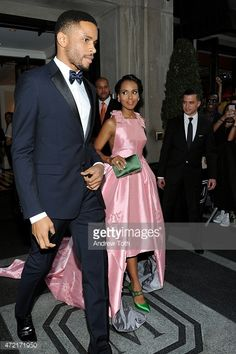 Kerry Washington (R) and Nnamdi Asomugha depart The Mark Hotel for the Met Gala at the Metropolitan Museum of Art on May 4, 2015 in New York City.