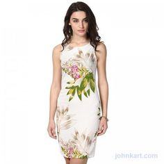 FLORAL PRINTED FITTED PRETTY DRESS  JOHN KART  $18.00 USD