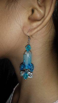Blue Flower Stone Beads Earrings