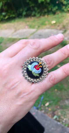 Handmade Embroidered Violet Designed Silver Ring | Etsy