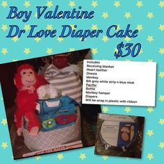 Dr love boy Valentine diaper cake Will be wrap in plastic with ribbon Other