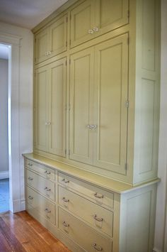 replace closet in hall with built-ins? Or use this kind of style for kitchen cabinets? Idea for built in in kitchen