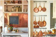 Медное оформление интерьера кухни
