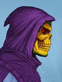 'Skeletor' portrait by Mike Mitchell Thundercats, Mike Mitchell, Arte Horror, Comic Games, Cartoon Shows, Marvel Art, Skull Art, Comic Character, Portrait
