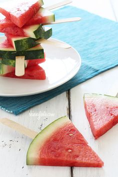 Watermelon on a stick, isn't that the coolest idea? No cooking required for this one! Sometimes it's the simplest things that make the best desserts.   Take sweet watermelon for example, the perfect summer dessert as is - but add a stick to it and you have a fun way to present it at your backyard parties. I saw this on Real Simple and I knew I wanted to share this idea with you all. My husband thought it was brilliant as we happily enjoyed this after dinner.   Note: not a recipe, simply a…