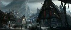 fantasy town village snow concept landscape medieval game digital architecture