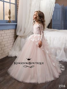 Fancy Flower Baby Girl Dress Child Long Sleeves Butterfly Pink Mesh Ball Gowns Kids Holy Communion Dresses Year Old 2017 Flower Girls, Yellow Flower Girl Dresses, Wedding Flower Girl Dresses, Dress Wedding, Bridesmaid Dress, Floral Dresses, Party Wedding, Pink Flowers, Girls Evening Dresses
