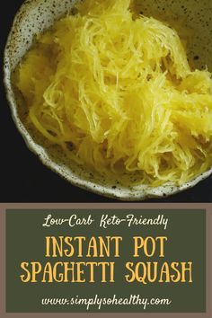 This easy recipe for #Instant #Pot #Spaghetti #Squash makes low-carb, healthy noodles for your favorite pasta sauce recipe. This recipe includes a step-by-step tutorial with photos for each part. Spaghetti Squash can be part of a #lowcarb, #keto, #diabetic, #glutenfree, #grainfree, #Paleo, or #Whole30 diet.