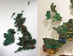 World map made from old computer parts.