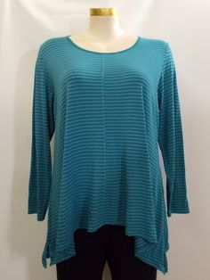 Hearstring - Long Sleeve Turquoise Stripe Symmetrical Swing Tunic with Front & Back Seam
