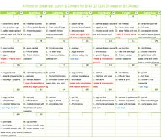 September Menu Calendar - she stayed under $150/month. She got a few good sales, but seems reasonable
