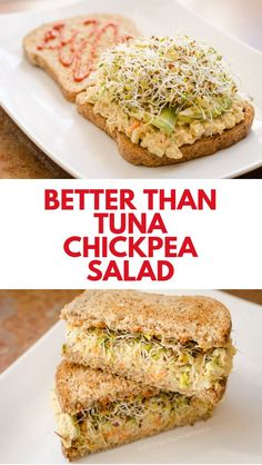 Portable and easy meals, like the classic tuna salad sandwich, are an essential. This chickpea vegan tuna salad is a delicious vegan alternative. Healthy Foods To Make, Healthy Diet Recipes, Healthy Food Choices, Whole Food Recipes, Vegetarian Recipes, Healthy Eating, Healthy Meats, Vegetarian Protein, Dog Recipes