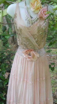 Blush maxi   dress  lace  wedding fairytale bridesmaid rose boho  vintage  romantic medium by vintage opulence on Etsy