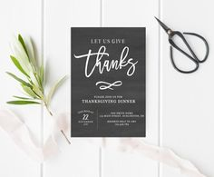 Give Thanks Thanksgiving Invitation, Fall Invitation, Thanksgiving, Digital…