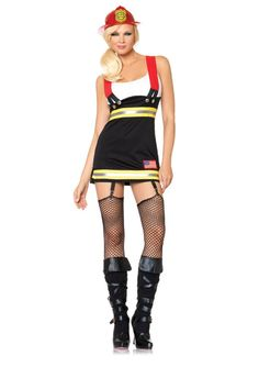 Sexy Backdraft Babe Firefighter Costume - Calgary, Alberta. Wear this sexy Firefighter outfit for Halloween and try pairing up with a fireman for a cute couple's costume.  This is a sexy Backdraft Babe Firefighter costume.  The Firefighter costume features a dress that appears as a white tank top with skirt coveralls. The skirt coverall is black with yellow and silver reflector strips across the waist and the bottom.