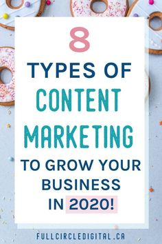 8 Types of Content Marketing To Grow Your Business - Full Circle Digital - Need some content ideas for your online business? A great way to engage your customers and add valu - Social Media Marketing Business, Content Marketing Strategy, Marketing Plan, Internet Marketing, Online Marketing, Mobile Marketing, Inbound Marketing, Social Networks, Social Media Content
