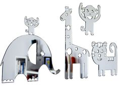 Design a zoo in your bedroom with this shatterproof mirror set, complete with removable adhesive. The gorgeous zoo set contains 5 animals that wont mark your walls. Quirky Gifts, Unique Gifts, Gifts Australia, Mirror Set, Online Gifts, Funny Gifts, Bookends, Wall, Baby Things