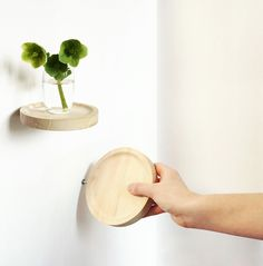 This series of smaller shelves is designed by Inga Sempé. They are minimalistic, beautiful and easy to mount on the wall with just one screw - this make the shelves seems like they're floating.