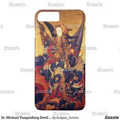 St. Michael Vanquishing Devil as Medieval Knight iPhone 8 Plus/7 Plus Case #saintmichael #angels #archangel #religion #fineart #religious #christian #knight #medieval #devil
