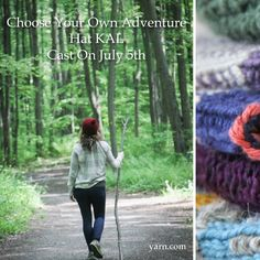 Choose Your Own Adventure Hat Knitting Patterns Free, Free Knitting, Quick Knitting Projects, Adventure Hat, July 5th, Fiber Art, Knitted Hats, It Cast, Yarns