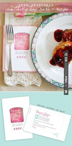 mother's day card free printable with a recipe card on the back. too darn cute! | CHECK OUT MORE IDEAS AT WEDDINGPINS.NET | #printableweddingtemplates