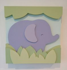 Elephant Safari Kids Room Decor and Nursery Wall by EleosStudio Wooden Painting, Wooden Wall Art, Wooden Letters, Wooden Baby Toys, Wood Toys, Wood Crafts, Paper Crafts, Baby Playroom, Kids Room Art