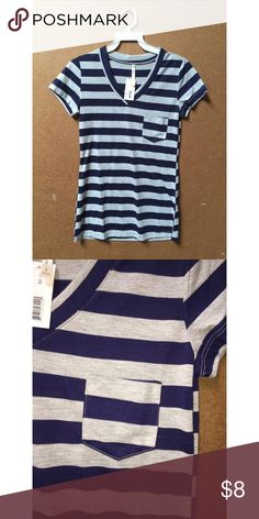 BRAND NEW STRIPED T-SHIRT (qty: 12) Super cute and casual t-shirt with small breast pocket. Navy blue and heather grey. Brand new with tags - just taken out of the packaging. There are multiple of this style and color! Let me know if you have any questions Tops Tees - Short Sleeve