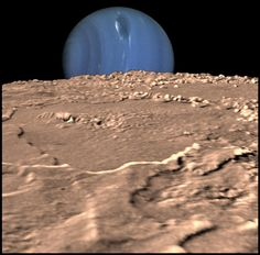 #Neptune from #Triton | This composite illustration is of the planet Neptune, as seen from its moon Triton. Neptune's south pole is to the left; clearly visible in the planets' southern hemisphere is a Great Dark Spot, a large anti-cyclonic storm system. This three-dimensional view was created using images from the Voyager spacecraft.