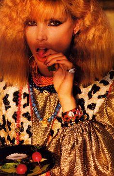 Denis Piel for American Vogue, November 1980. Clothing by Oscar de la Renta. Kelly Emberg; model.