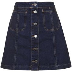 TOPSHOP MOTO Vintage Wash Button Front Skirt ($55) ❤ liked on Polyvore featuring skirts, bottoms, topshop, shorts and skirts, mid stone, topshop skirts, a line skirt, knee length a line skirt and button front skirt