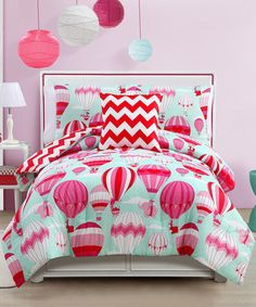 Look at this Blue & Pink Away We Go Comforter Set on #zulily today!