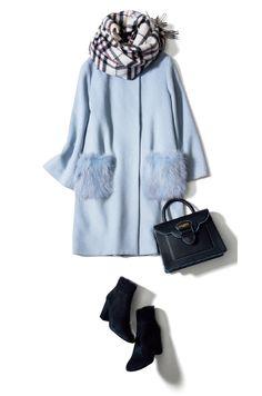 同色のさりげないポケットファーで、前を閉じても華やかに Ol Fashion, Frock Fashion, Fashion Mode, Office Fashion, Business Fashion, Hijab Fashion, Winter Fashion, Fashion Outfits, Womens Fashion