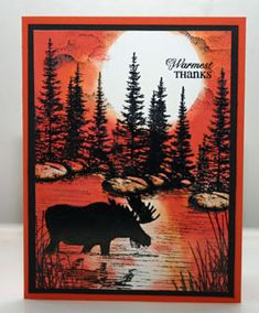 stampscapes, yukon (moose) by su Paper: tangerine tango, black, glossy white Ink: staz on, red riding rood red, pumpkin pie