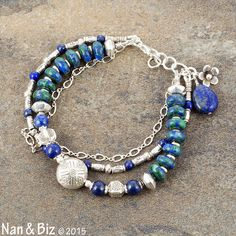 Three-strand azurite-malachite and lapis bracelet, Karen Hill Tribe silver jewelry, sterling, rich blue and green stackable boho bracelet by NanandBiz  This unique blue and green azurite-malachite and lapis bracelet (aka lapis lazuli) contrasts beautifully with Hill Tribe silver in 3-strands of natural beauty. We chose a selection of rustic, handmade Karen Hill Tribe beads, including a tribal print 14mm silver lentil to enhance the natural stone beads.