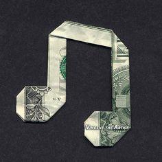 Dollar Bill Money Origami MUSIC NOTE