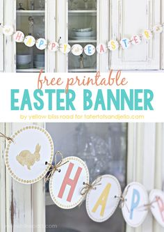 Free Printable Easter Banner - Click through for more Easter Printables Happy Easter Banner, Diy Ostern, Easter Crafts, Easter Ideas, Easter Decor, Easter Garland, Easter Centerpiece, Bunny Crafts, Easter Wreaths