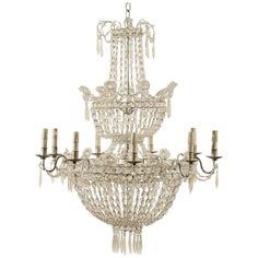French Nine-Light Crystal Basket Chandelier | From a unique collection of antique and modern chandeliers and pendants at https://www.1stdibs.com/furniture/lighting/chandeliers-pendant-lights/