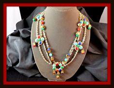 Vintage Baroque Style Gold-tone & Acrylic Bead Necklace #2718