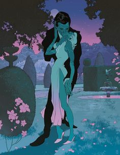 Tomer Hanuka Full Bloom St Edition - Tomer Hanuka Full Bloom Edition I Like The Color Scheme Pop Art Fantasy Art Persephone Tomer Hanuka Aesthetic Art Psychedelic Art Couple Art Pretty Art Graphic Art More Informatio Tomer Hanuka, Cartoon Kunst, Cartoon Art, Psychedelic Art, Art And Illustration, Art Pop, Fantasy Kunst, Fantasy Art, Pretty Art